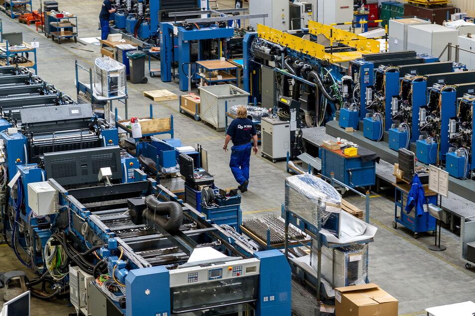Blick in die Produktionshalle von Planeta: Hier werden Druckmaschinen hergestellt.