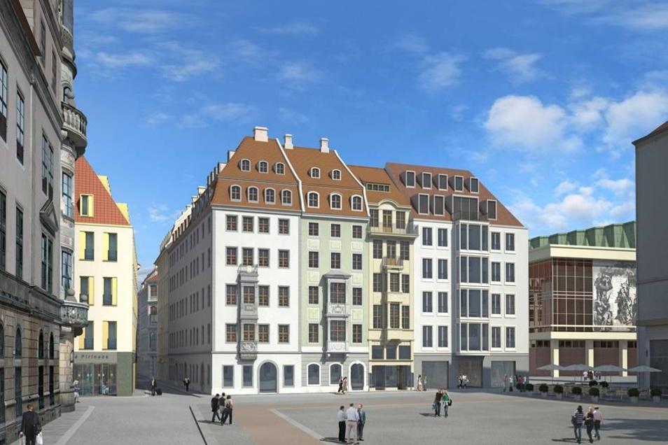 Bebaut wird das Stück zwischen Swissotel (links, gelbe Fassade) und Kulturpalast (r).