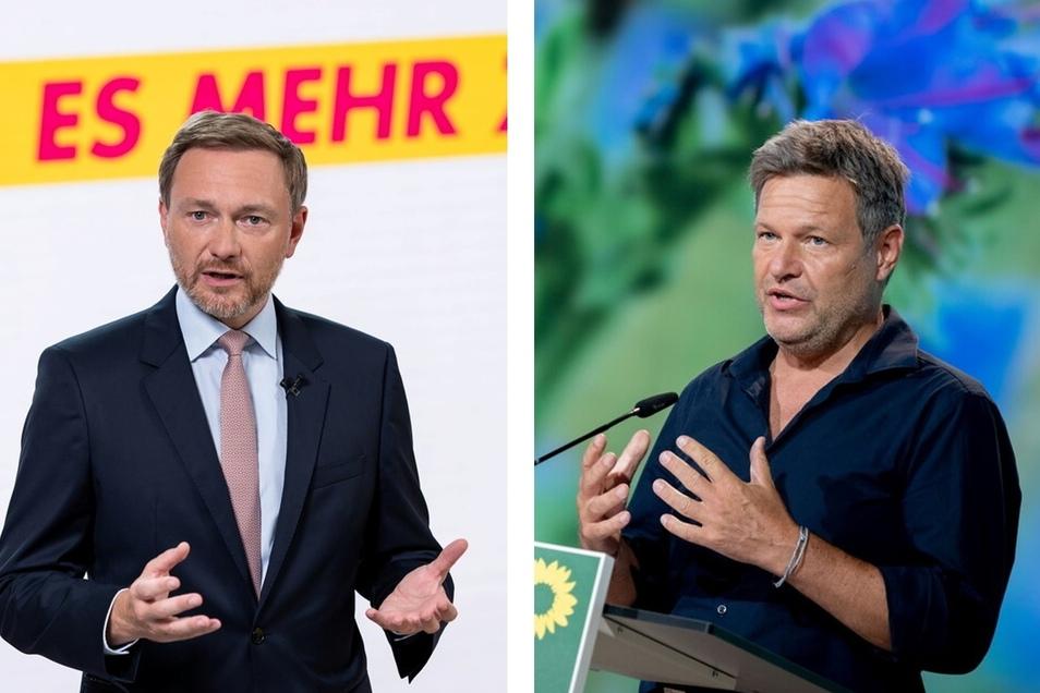 Robert Habeck (r.) und Christian Lindner kommen am Freitag nach Dresden.