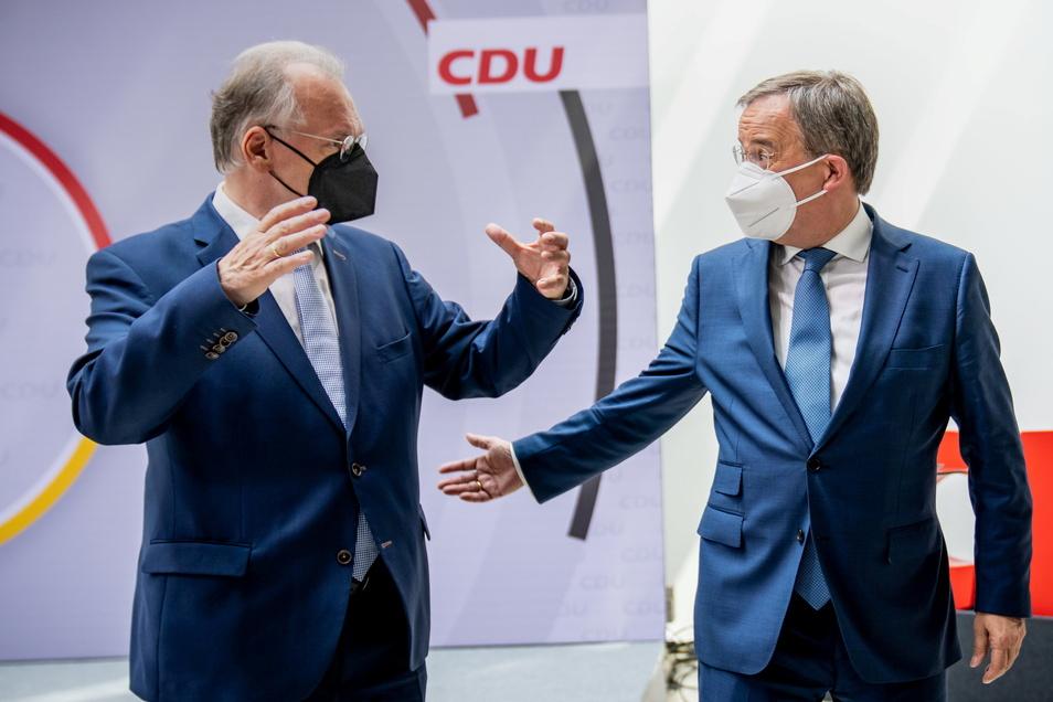 Reiner Haseloff und Armin Laschet äußerten sich am Morgen nach einer Sitzung des CDU-Bundesvorstandes.