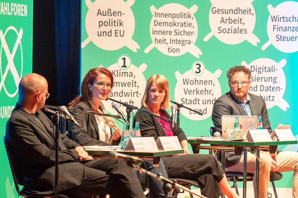 Der linke Flügel beim Wahlforum im Großenhainer Kulturschloss v.l.n.r: Markus Pohle (Die Linke), Karin Beese (Grüne) und Stephanie Dzeyk (SPD). Doch direkt gewählte Bundestagsabgeordnete werden sie wohl nicht. Das machen zwei andere unter sich aus.