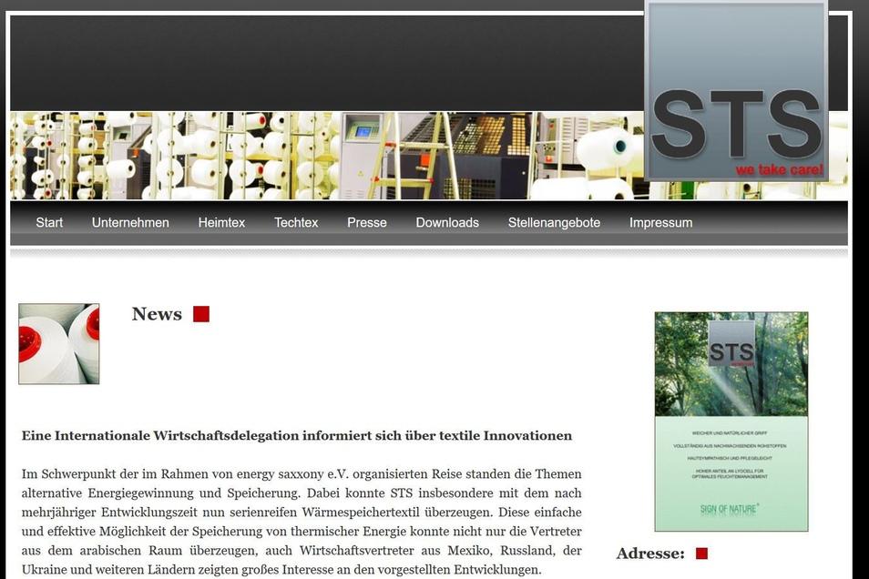 Die STS Textiles GmbH & Co. KG im vogtländischen Grünbach entwickelt und produziert Textilen für die Bereiche Heimtex, Automotive und technische Anwendungen. Die Firma entwickelte ein Gewebe, das thermische Energie speichern und nach Bedarf kühlen oder wärmen kann.