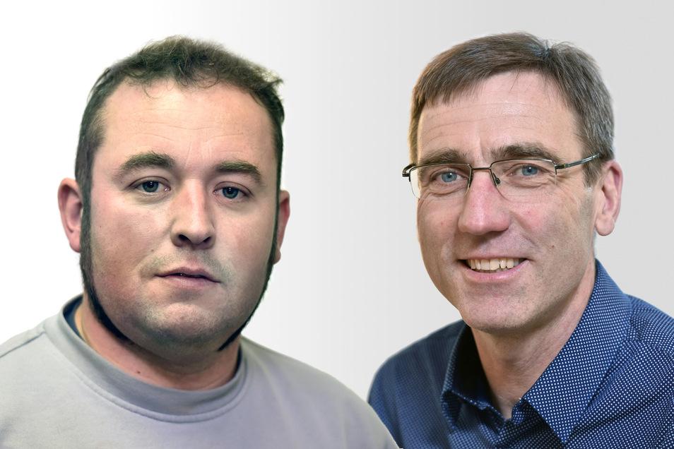 Die beiden Kandidaten zur Bürgermeisterwahl in Klingenberg: Mario Staudte (li.) und Torsten Schreckenbach.