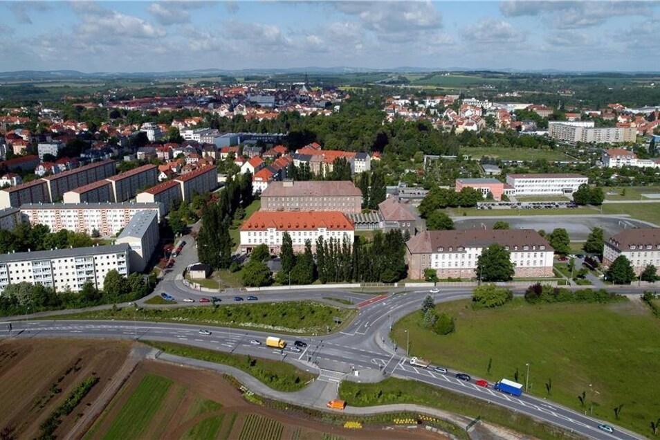 Blick auf den Bautzener Standort der Hochschule der Sächsischen Polizei. Luftbild.
