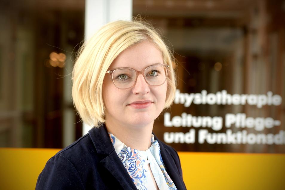 """Andrea Zelyk ist Pflegedirektorin des Klinikums Oberlausitzer Bergland. """"Was Pflegekräfte leisten, wird oft weit unterschätzt"""", sagt die 33-Jährige."""
