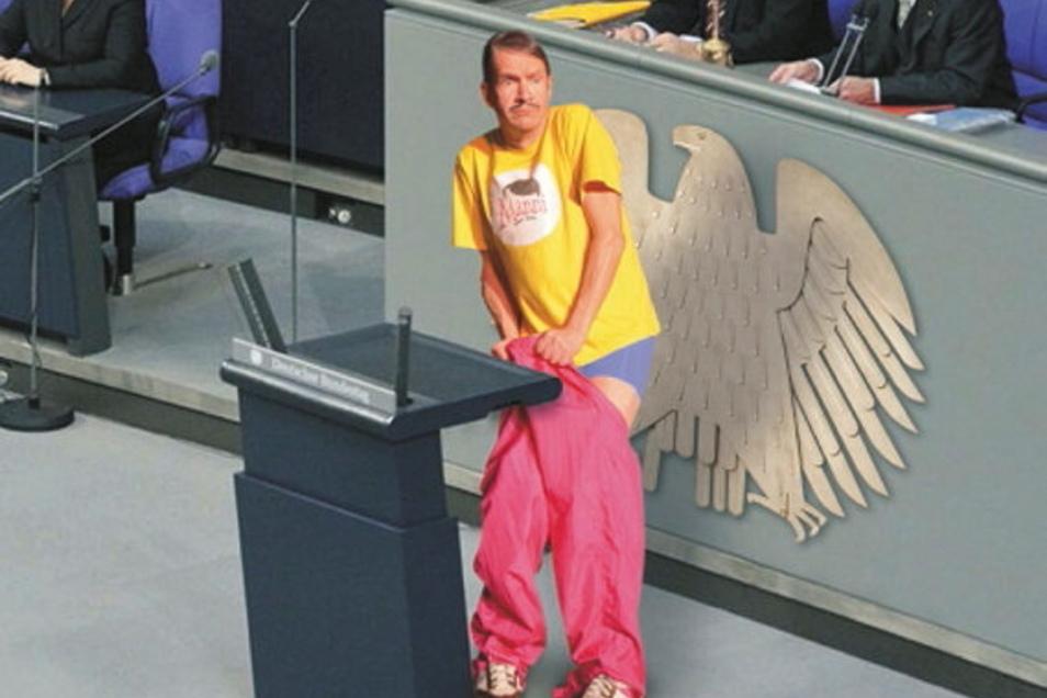 """Statt im Bundestag lässt Sanftwut-Kabarettist Thomas """"Mannis"""" Störel am 31. Juli in Roßwein die Hosen runter. Dann will er mit seinem aktuellen Programm die Mädels munter machen."""