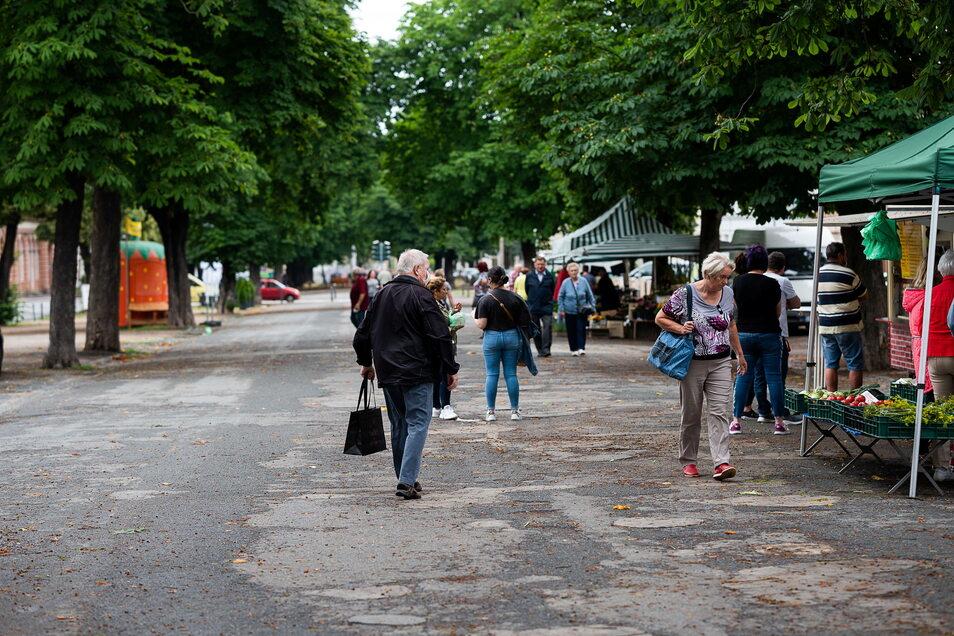 Mittwoch ist nicht der stärkste Tag auf dem Görlitzer Wochenmarkt. Aber die Lage habe sich gebessert, sagt der Pächter.