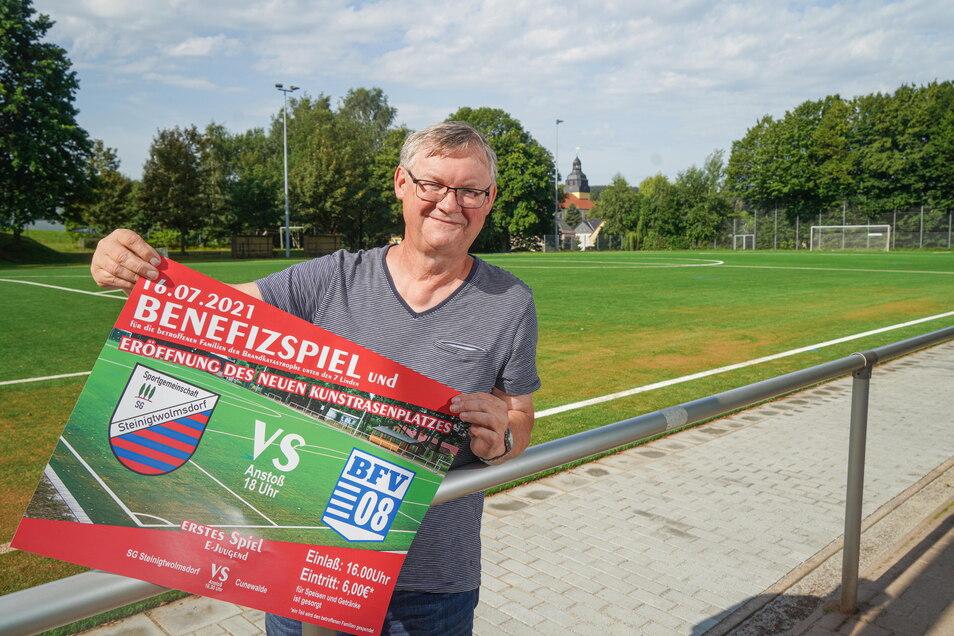 Gerd Pradel, Vorsitzender der SG Steinigtwolmsdorf freut sich auf das Benefizspiel gegen den BFV 08 am Freitag.