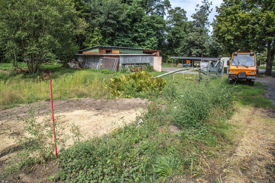 Dort, wo im Hintergrund noch der Bauhof erkennbar ist, soll in Kreba-Neudorf die neue Turnhalle entstehen.