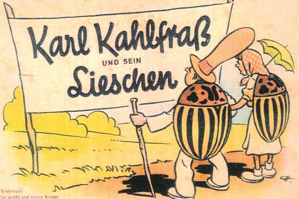 """""""Karl Kahlfraß und sein Lieschen"""", hieß ein Bilderbuch """"für große und kleine Kinder"""", das das DDR-Landwirtschaftsministerium in den 1950er-Jahren herausgab und darin die Legende von amerikanischen Käferbombern pflegte."""