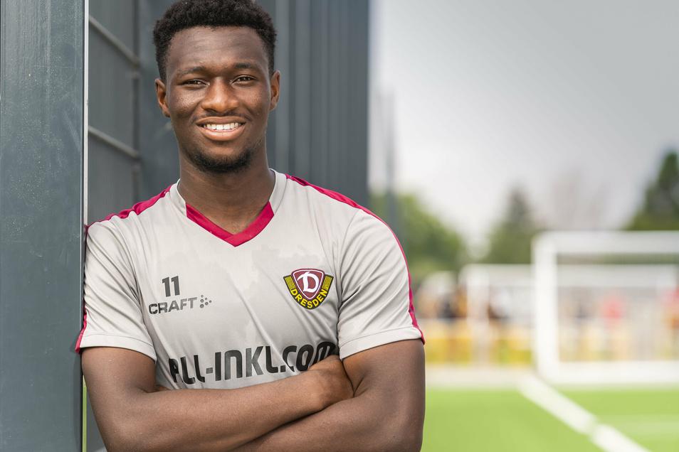 Zufrieden sieht Agyemang Diawusie nach einer schweißtreibenden Trainingseinheit aus. Sein Einstand bei Dynamo ist geglückt.