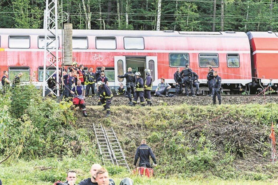 Diesen alten Zug hat die Deutsche Bahn für die Übung zur Verfügung gestellt. Die Strecke war von 16.30 Uhr bis kurz nach 23 Uhr zwischen Krippen und Schöna gesperrt.