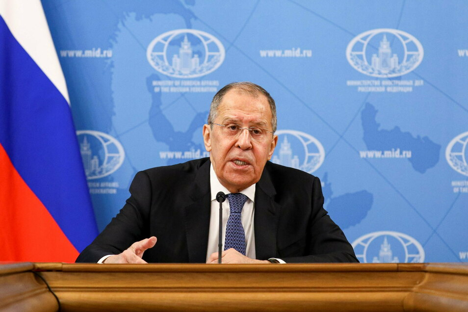 Dieses vom russischen Außenministerium veröffentlichte Foto zeigt Sergej Lawrow, Außenminister von Russland, während seiner jährlichen Pressekonferenz im Januar 2021.