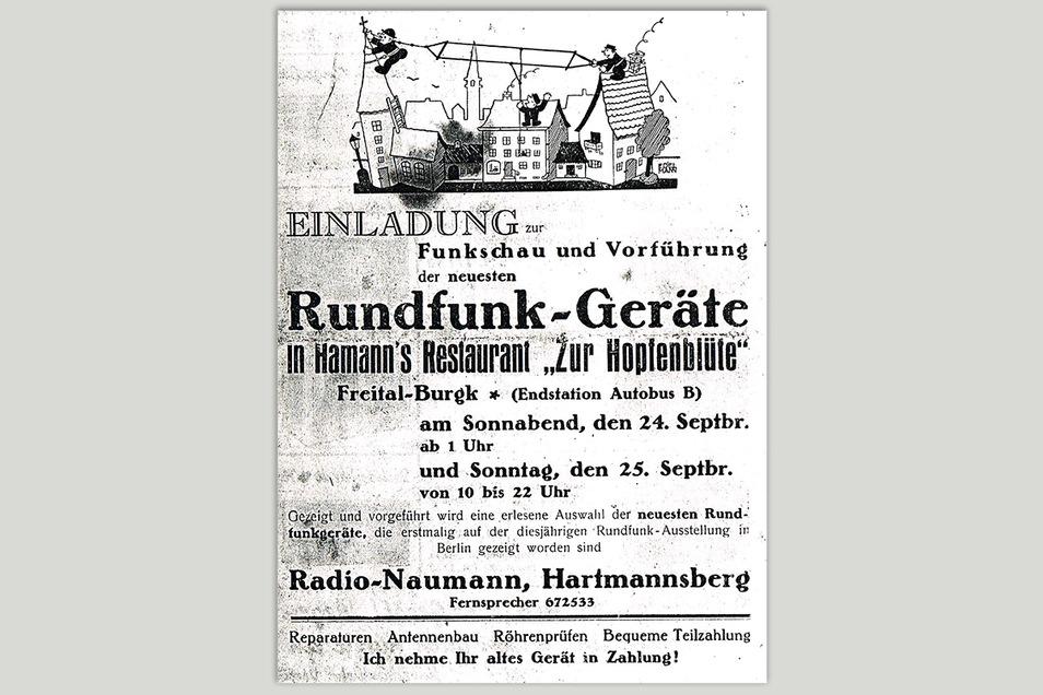Flugblatt vom Ende der 1930er: Radiohändler Naumann lädt zur Funkschau in ein Freitaler Gasthaus ein.