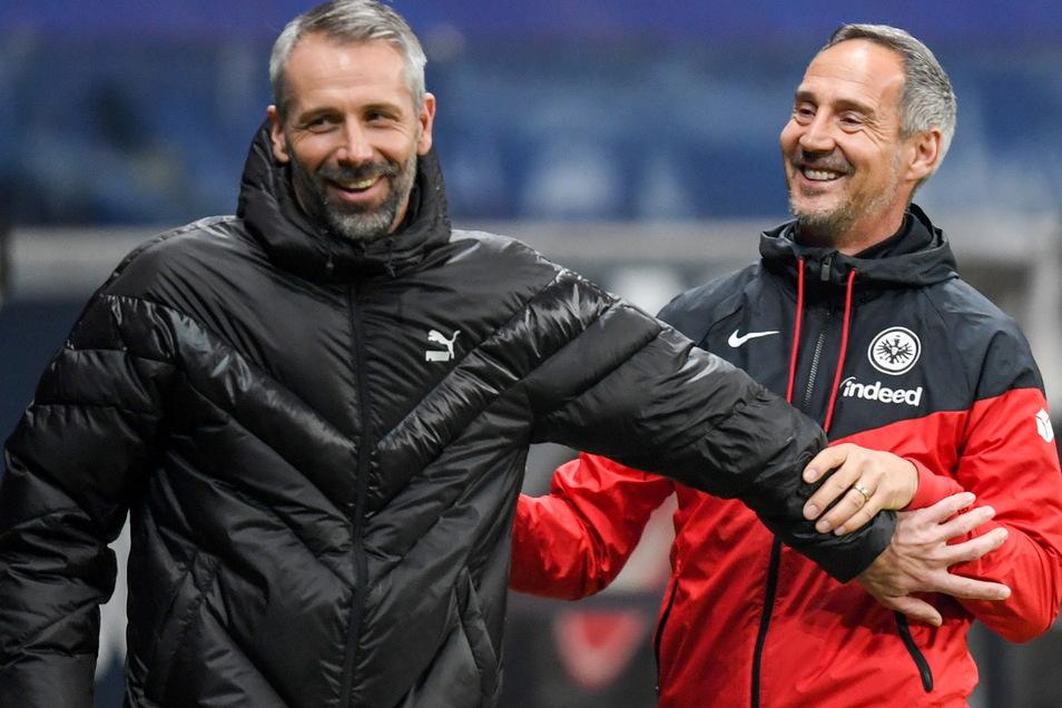 Was den gebürtigen Leipziger Marco Rose (links) und Adi Hütter aus Österreich verbindet? Eine erfolgreiche Zeit bei RB Salzburg.