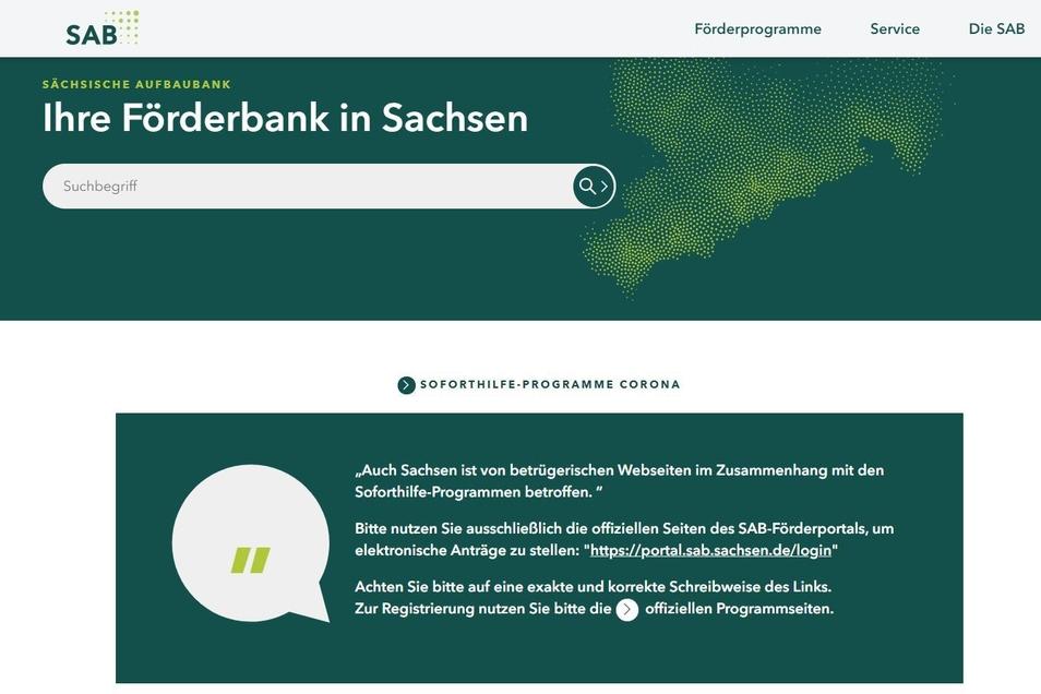 """Die Website der Förderbank in Sachsen. Betrüger haben die Seite kaum merklich verändert, um mit der """"Fake-Seite"""" Daten von Unternehmen abzugreifen."""