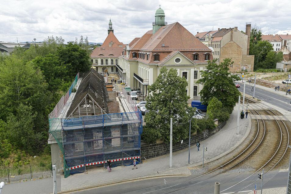 Hier ein Foto von der Sanierung der alten Post an der Bahnhofstraße in Görlitz, aufgenommen vom gegenüberliegenden Parkhaus.