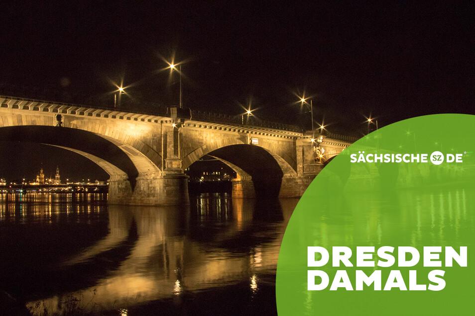 Beeindruckt nicht nur durch Baukunst: Die Angestrahlte Albertbrücke in Dresden.