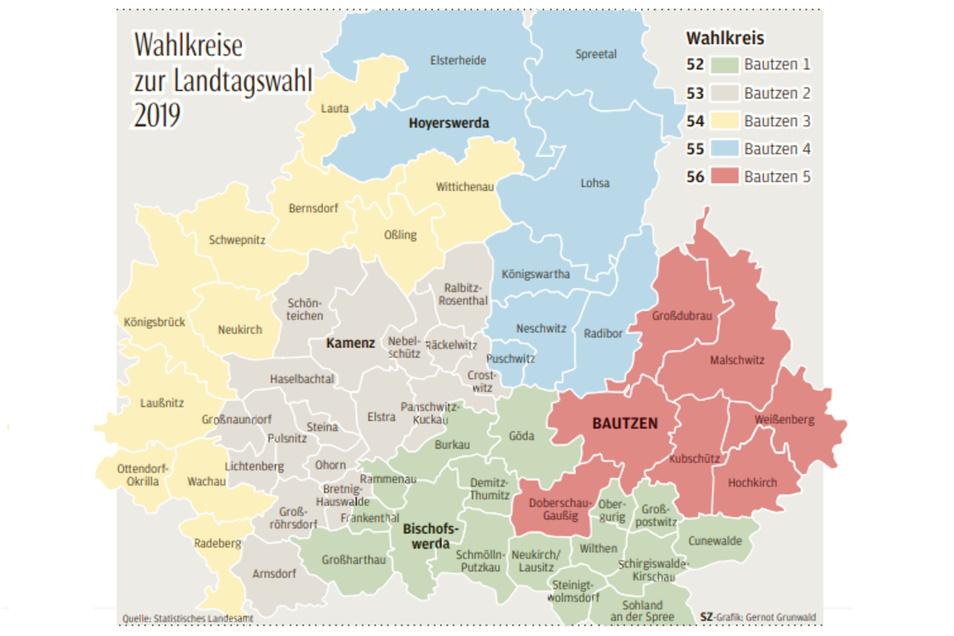 Wahlkreis zur Landtagswahl im Landkreis Bautzen.