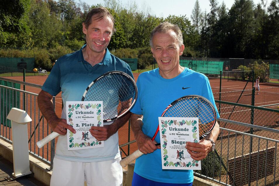 Lokalmatador Ernst Schneider (rechts) holte in der Altersklasse 60 den ersten Platz vor Volker Stoll aus Radebeul.