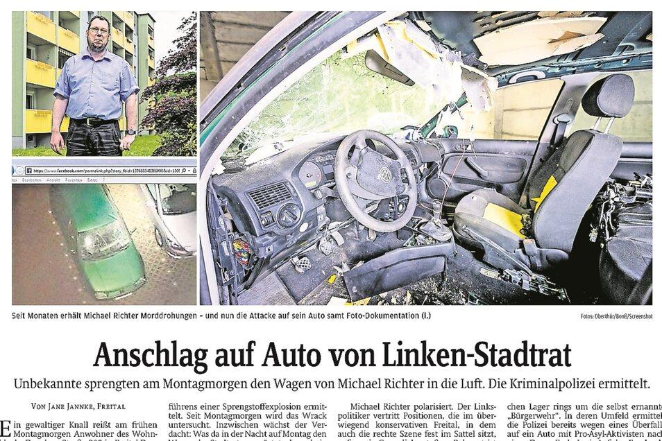 Bericht in der Sächsischen Zeitung vom 28. Juli 2015 über den Brandanschlag auf das Auto vom damaligen Freitaler Linken-Stadtrat Michael Richters.