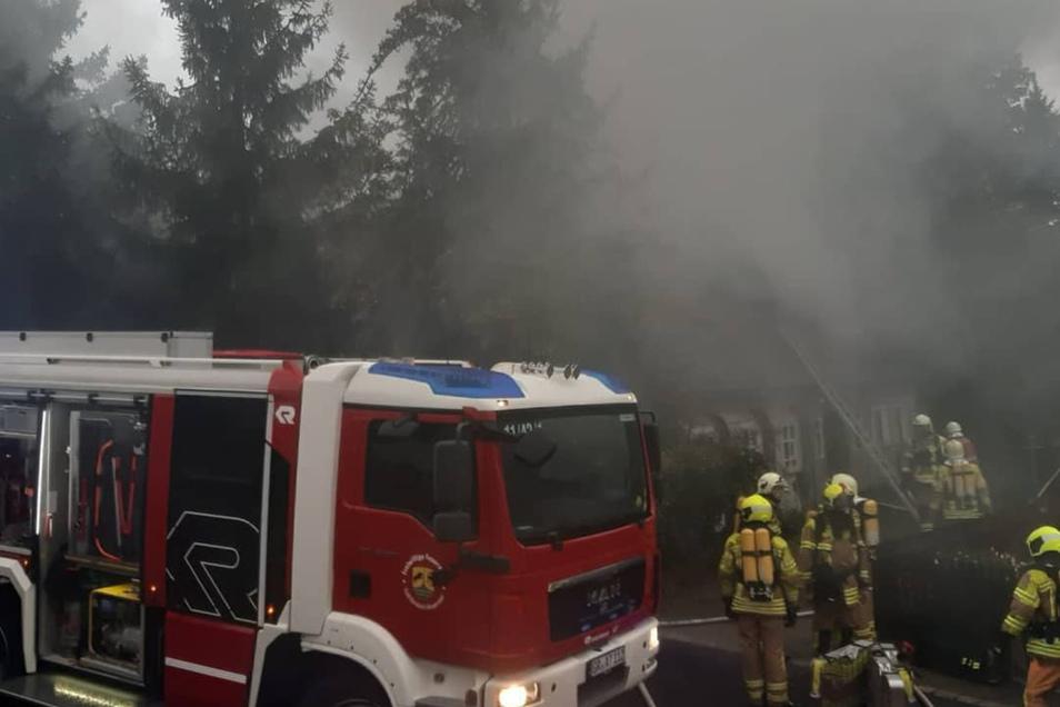 Brand im Umgebindehaus an der August-Bebel-Straße in Neugersdorf.