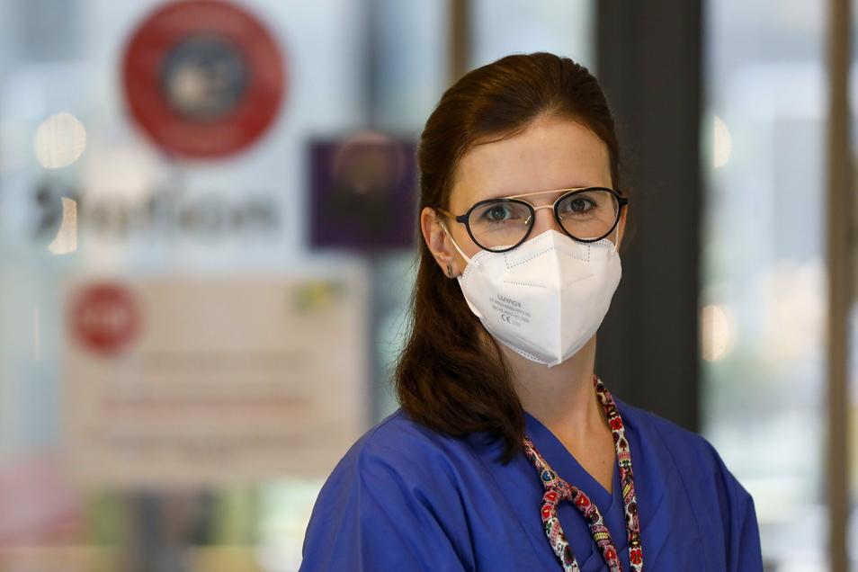 Die Intensivmedizinerin Dr. Karolin Lust arbeitet auf der Intensivstation des Zittauer Krankenhauses.