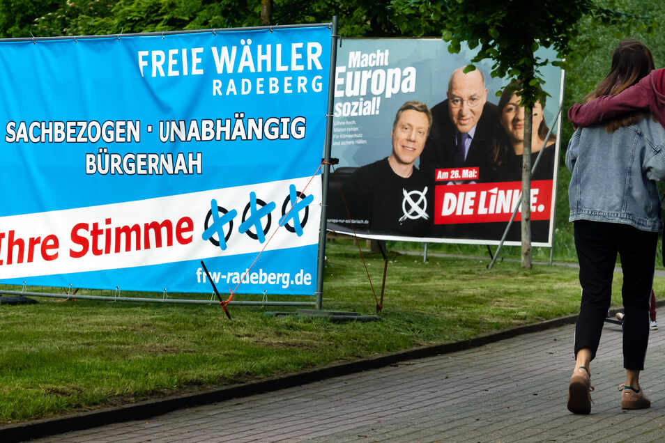 Wahlplakate in Radeberg
