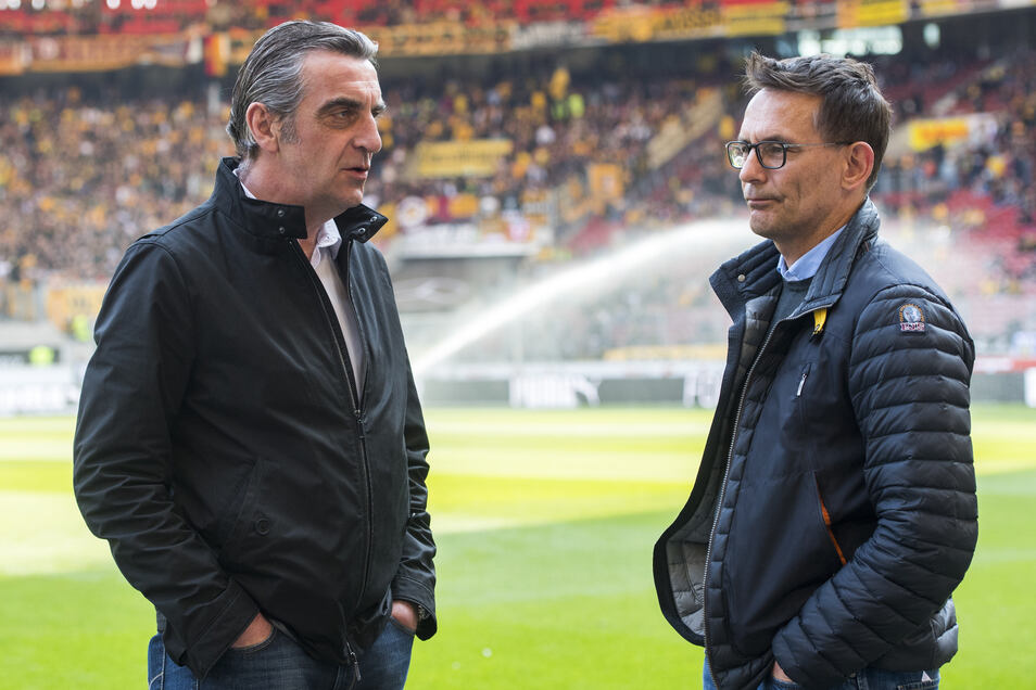 Noch sind sie zu zweit: Dynamos Geschäftsführer Ralf Minge (Sport/l.) und Michael Born (kaufmännisch).
