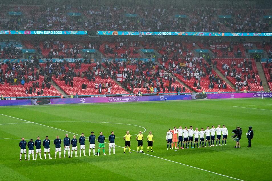 Im Londoner Wembley Stadion, wo das EM-Vorrundenspiel England gegen Schottland stattfand, sollen beim Endspiel 60.000 Fans und 2.500 internationale Medienvertreter und VIP-Gäste sitzen.