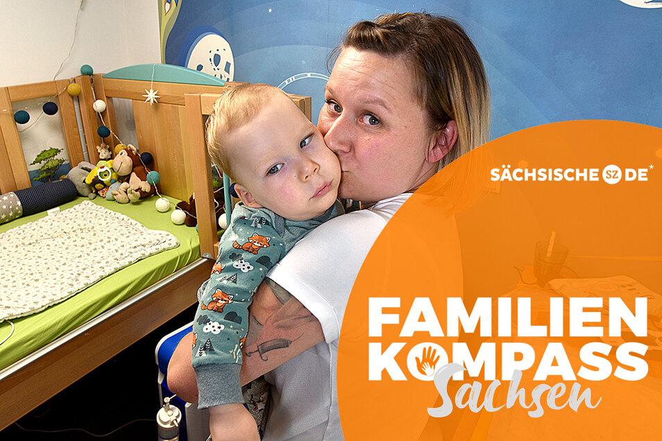 Melanie Krause und ihr Sohn Anton, der jetzt 17 Monate alt ist. Der Junge ist mehrfach geistig und körperlich behindert. Wie er sich mal entwickeln wird, weiß niemand.