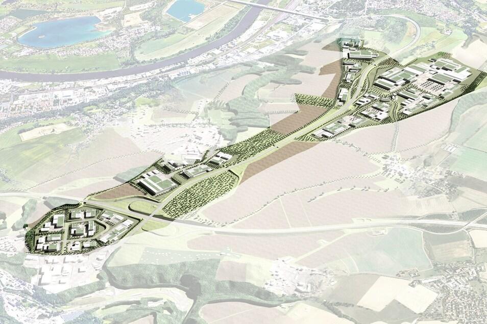 Vier Flächen für Firmenansiedlungen und dazwischen viel Grün: So könnte der Industriepark Oberelbe entlang des Pirnaer Autobahnzubringers einst aussehen.