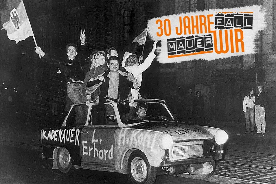 Jugendliche sprühten ihren Trabi im Oktober 1990 schwarz-rot-gold an und feierten die Einheit mit einer Tour durch Dresden. Wie denkt die letzte Generation Ost heute über die deutsche Wiedervereinigung?