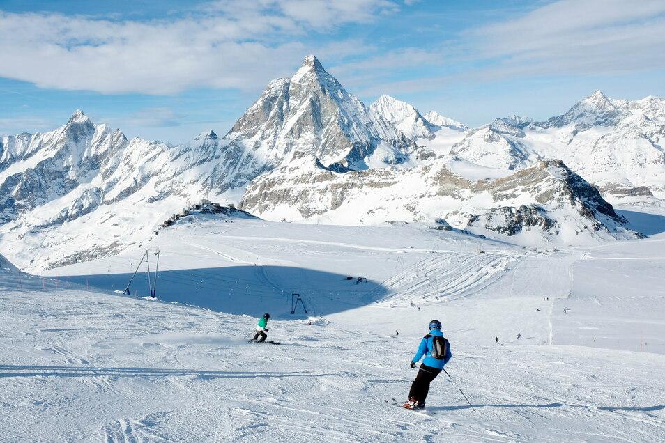 Pisten mit Blick aufs Matterhorn: Das Skigebiet Zermatt im Schweizer Wallis.