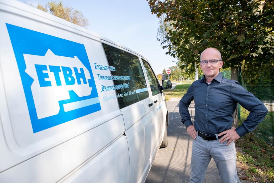 """Andreas Clausnitzer, Chef des Eigenbetriebes Trinkwasserversorgung """"Braunsdorfer Höhe"""", appelliert an die Verantwortung der Verbraucher."""