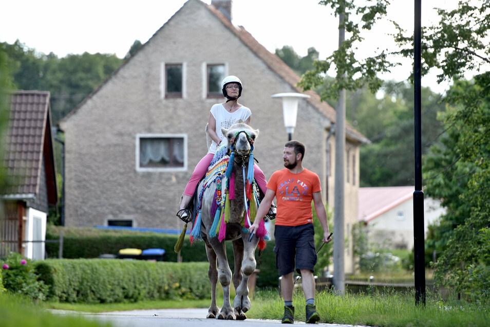 Schwankende Aussicht: Tobias Kühn führt Djefar mit SZ-Redakteurin Anja Beutler zwischen den Höckern ein kleines Stück durch Kiesdorf.