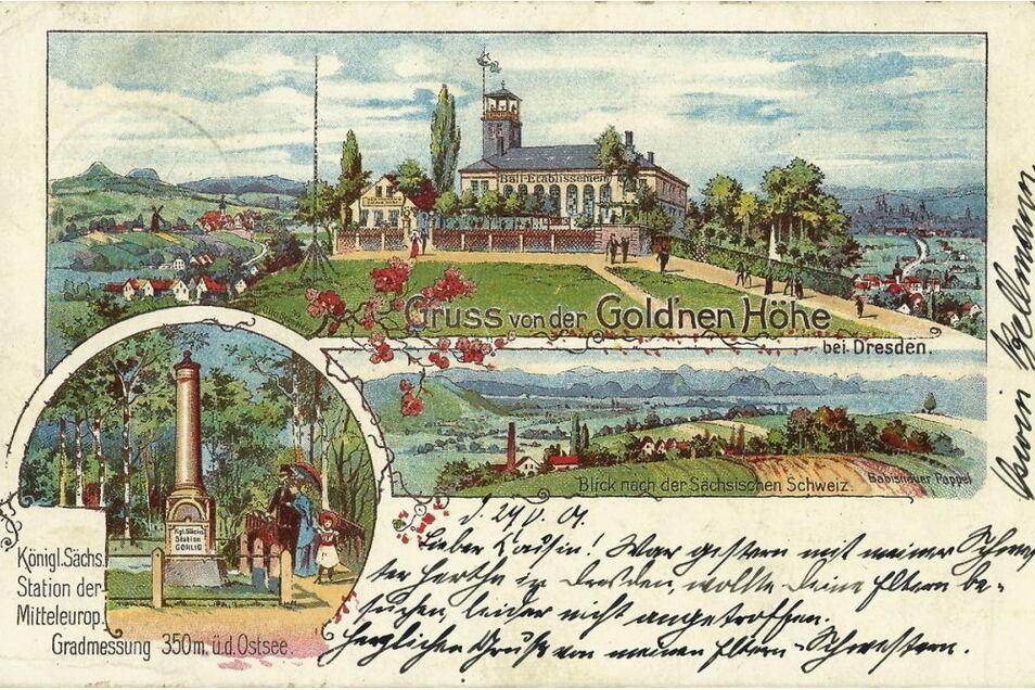 Nagelsche Säule 62-Gohlig auf einer Ansichtskarte von 1899.