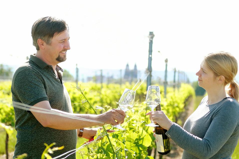 Das neue Konzept des Meißner Weinfestes ermöglicht es Annekatrin Rades und Tim Strasser vom Weingut Rothes Gut, mit ihrer heimischen Location teilzunehmen.