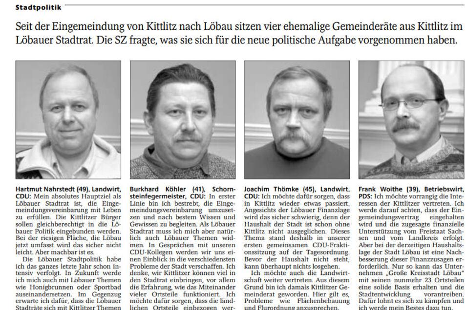 Im Januar 2003 benannten die vier Räte, die vom Kittlitzer Gemeinderat in den Stadtrat wechselten, in der SZ ihre Ziele. Hartmut Nahrstedt (links) ging es vor allem um ein gleichberechtigtes Miteinander.
