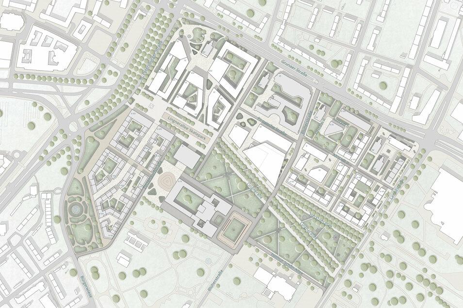 Im Norden ein neues Gewerbegebiet, im Westen und Osten Wohnflächen. In der Mitte der zentrale Museumskomplex. So sehen die Pläne von Qiuna Li und Mengwen Chen aus.