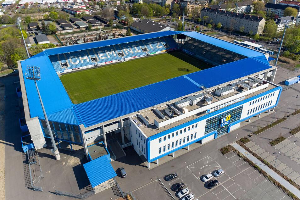 """Das """"Stadion an der Gellertstraße"""", Heimspielstätte des Chemnitzer FC (CfC)."""