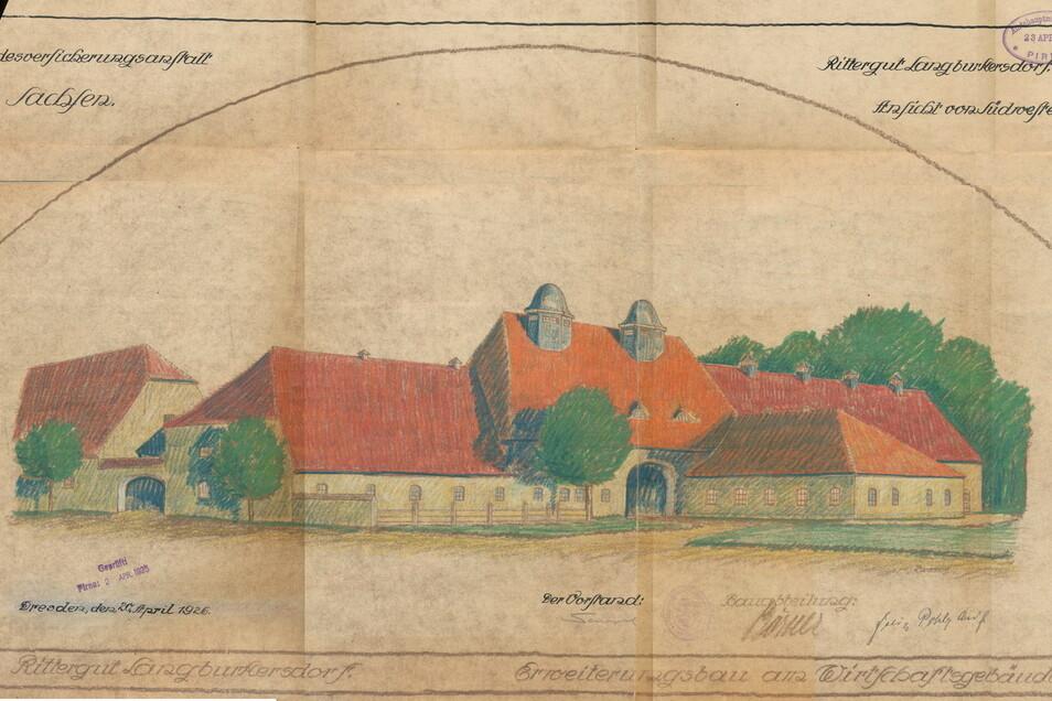 1925 wurde das gesamte Anwesen an die Landesversicherung Sachsen verkauft, welche nach großen baulichen Veränderungen ein Altersheim errichtete. Die Zeichnung gibt den geplanten Erweiterungsbau an das Wirtschaftsgebäude wieder.