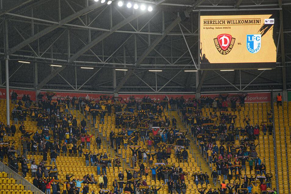 Zum Heimspiel von Dynamo gegen Magdeburg am 10. Oktober durften noch genau 999 Zuschauer ins Dresdner Rudolf-Harbig-Stadion. Die typische Atmosphäre für das Ost-Duell wird es auch im Rückspiel nicht geben.