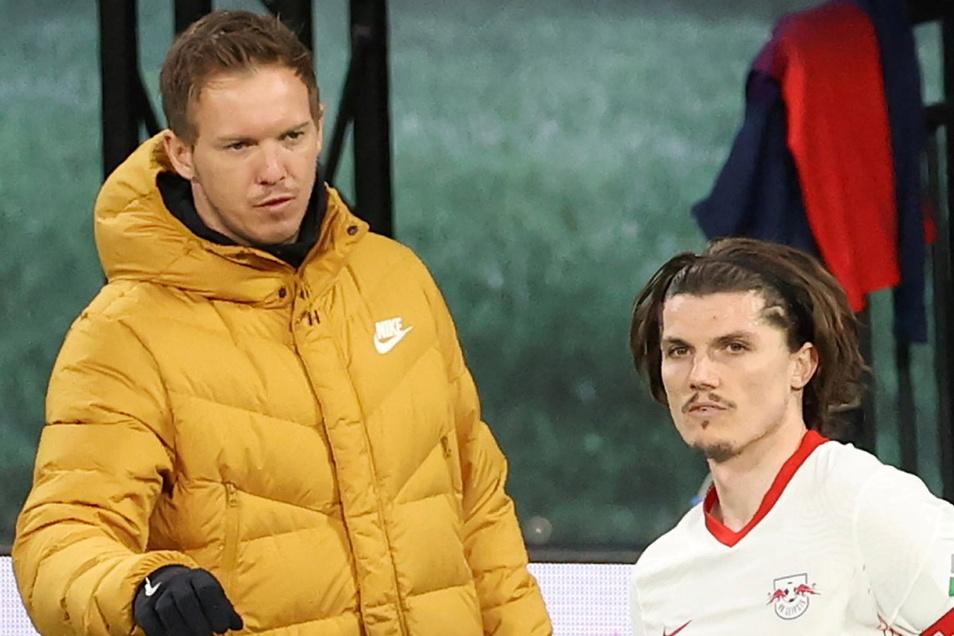 Wie lange sind sie noch in Leipzig? RB-Trainer Julian Nagelsmann und Kapitän Marcel Sabitzer .