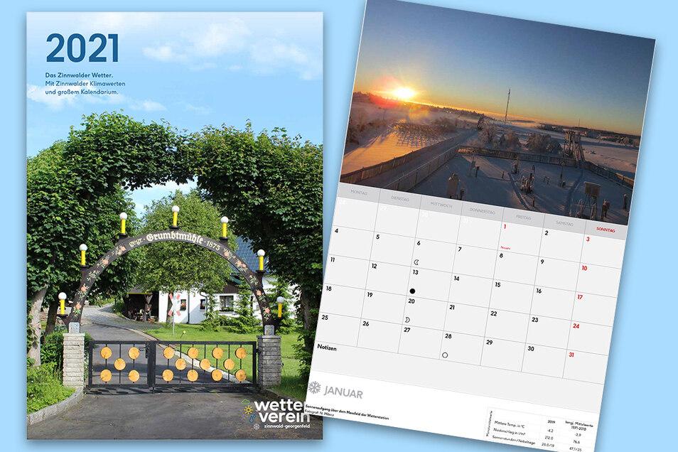 Den Kalender des Wettervereins Zinnwald-Georgenfeld gibt es in den Formaten A3 und A4.