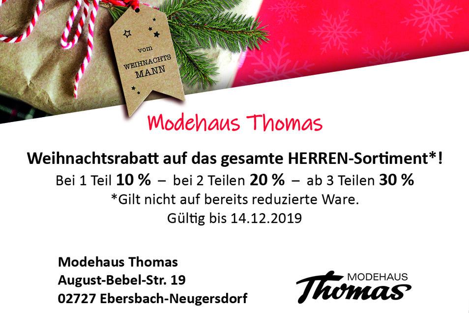 Modehaus Thomas, August-Bebel-Str. 19, 02727 Ebersbach-Neugersdorf