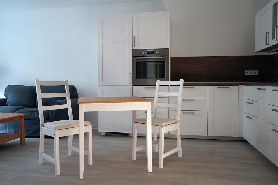 Musterwohnung im Scheunenhofcenter Pirna - offene Küche.