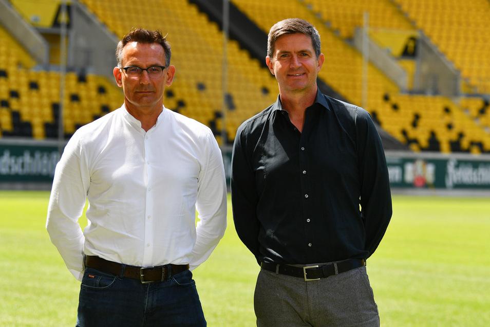 Dynamos neue Führungsriege: Michael Born (r.), kaufm. Geschäftsführer, und der neue Sportgeschäftsführer Ralf Becker sollen das Ziel das Wiederaufstieg in Angriff nehmen.