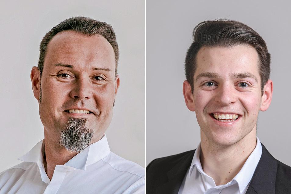 Miro Becker (links) ist der neue Chef der FDP Mittelsachsen und Philipp Hartewig deren Bundestagskandidat.