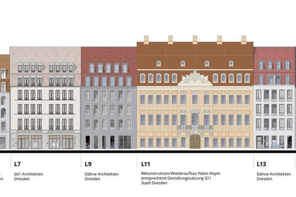Auf der Landhausstraße entstehen neben dem Palais Hoym (Hausnummer 11) auch die Nummer 3 originalgetreu wieder. Ganz rechts ist das Polizeipräsidium.